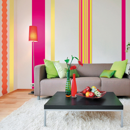 des bandes verticales pour le salon. Black Bedroom Furniture Sets. Home Design Ideas