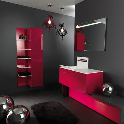 Salle de bain blanche et rouge rafra chir - Salle de bain rose et blanc ...