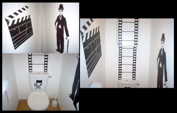 d co toilettes theme cinema. Black Bedroom Furniture Sets. Home Design Ideas