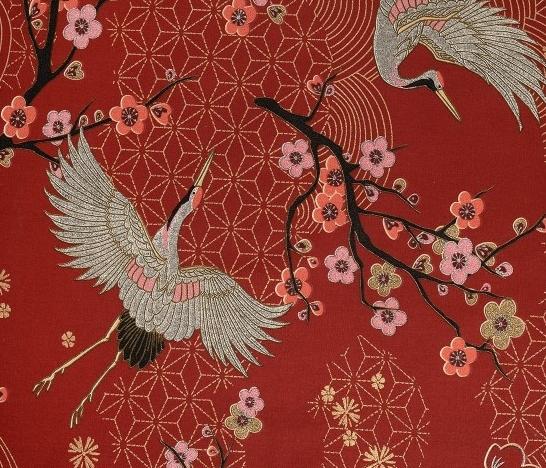 tissu rouge à motis japonais de grues, fleurs de cerisiers et bonsai