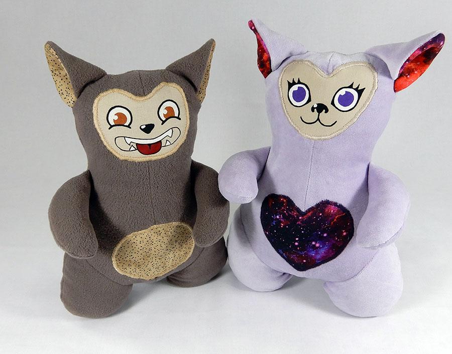 2 peluches Love-Garou, modèle O'Kryn Plush, loup antropomorphique et mignon