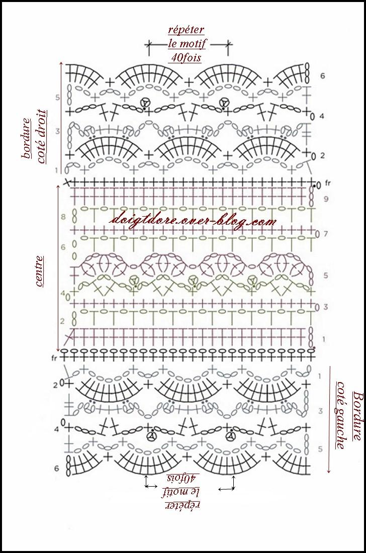 Схема вязания ажурного шарфа 47
