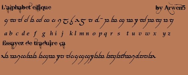 Fabuleux L'alphabet elfique (seigneur des anneaux) KE84