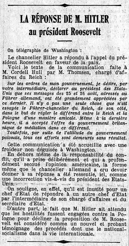 Réponse de Hitler à Roosevelt le 03 Septembre 1939 rapons10