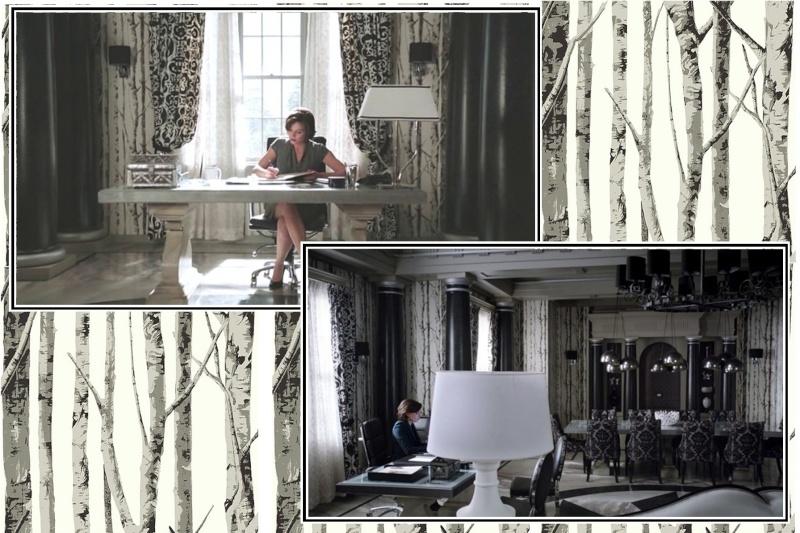 inspiration d co s rie tv for t de bouleau baroque noir blanc papier peint. Black Bedroom Furniture Sets. Home Design Ideas