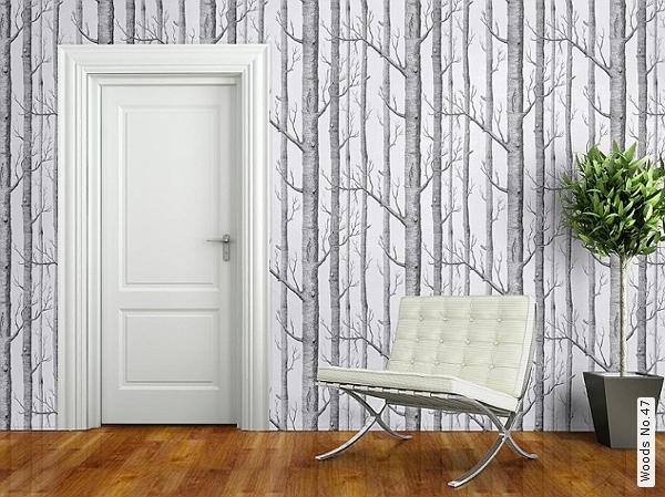 Inspiration d co s rie tv for t de bouleau baroque noir blanc papier peint - Deco avec bois de bouleau ...